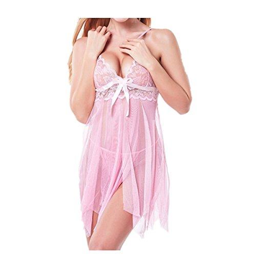SUCES Dessous Reizvoller Lace G-String Versuchung Siamesische Unterwäsche Nachtwäsche Damen Mode Frauen Nette Sexy Sling Bogen Uniformen Nachthemd Transparentes Kleid aus Spitze (L, Pink)