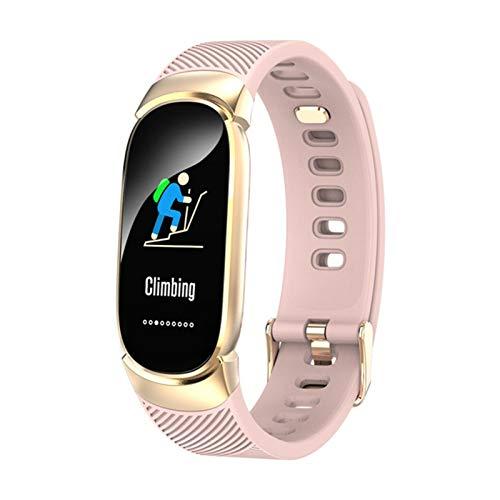 Mujer Smart Watch Sport Pedómetro SmartWatch Presión Arterial Monitor De Ritmo Cardíaco Monitor Fitness Tracker para Xiaomi Android iOS (Color : Pink)