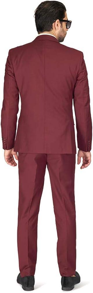 Slim Fit Men Suit Burgundy Wine 2 Button Notch Lapel AZAR 8028-58