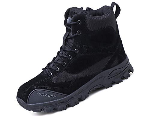 IYVW A01 Herren Stiefel Leder Swat Boots mit Thinsulate Fütterung Schwarz 40EU