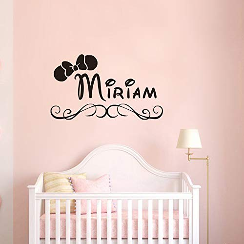 Wandaufkleber, Wandtattoos, Kinderzimmer Dekor Name Wandtattoos Minnie Mouse Bow Wandaufkleber Benutzerdefinierte Girl Name Vinyl Tapete Vinyl Art 57X33Cm
