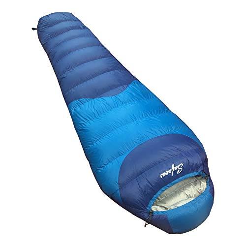 SAFACUS - Saco de dormir de plumón de 10 grados para senderismo y camping – Saco de dormir de invierno – Saco de dormir ligero – Saco de dormir de tamaño pequeño...