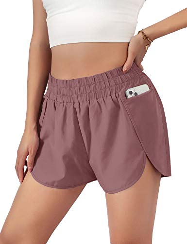 Blooming Jelly Womens Quick-Dry Running Shorts Sport Layer Elastic Waist Active Workout Shorts with Pockets 1.75' (Small, Light Wine Red)