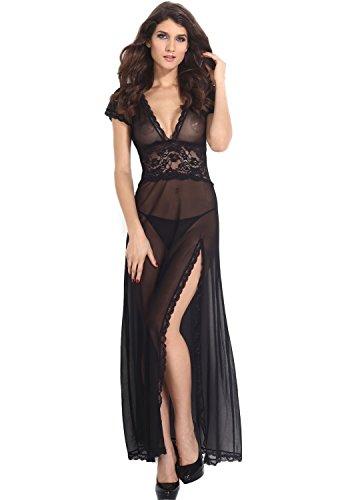 Amoretu Womens Sheer Lace V Neck Gown Dress Maxi Lingerie Set, Black,...