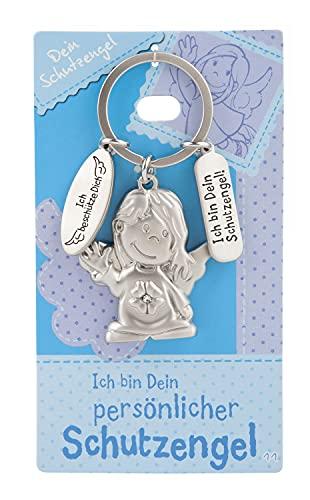 Depesche 7518-011 Schutzengel Schlüssel-Anhänger aus Metall, Glücksbringer mit Engel, Schlüsselring und liebevoller Botschaft, zum Verschenken an Familienmitglieder, Freunde und Bekannte