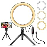 LED Ring Light 10'' with Stand Tripod for Makeup, Live Streaming & YouTube Video, Table LED Camera Light with Cell Phone Holder, Mini Dimmable Lamp with 3 Light Modes & 11 Brightness Level (10 inch)