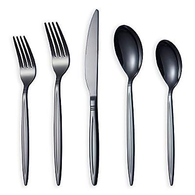 HOMQUEN 20 Piece Black Silverware Set, Stainless Steel Flatware Set, Titanium Black Cutlery Set, Service Set for 4 (Shiny Black)