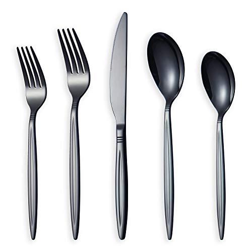 HOMQUEN Amazon Brand 20 Piece Black Silverware Set, Stainless Steel Flatware Set, Titanium Black Cutlery Set, Service Set for 4 (Shiny Black)