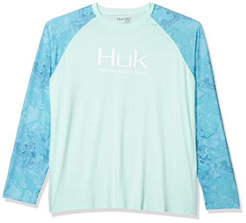 Huk Men's Current Camo Double Header Fishing Long Sleeve Shirt, Boca Grande, Small