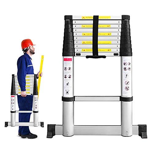 Todeco 3,2m Escalera Telescópicaescalera Plegable, Escaleras de Aluminio con Barra Estabilizadora, 11 Peldaños Escaleras Escamoteables Carga Máxima 150 kg