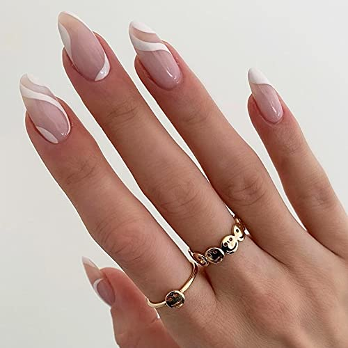 Medium Length Almond Press on Nails with Designs,Nude White Stripes Acrylic Nails Press on,Stick on Nails for Women,Artificial Glue on Nails, Abstract Fake Nails for Nail Art Manicure Decoration