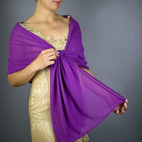 Chal chiffon color lila violeta purpura novia boda vestido de fiesta