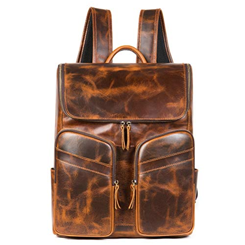 Retro Backpack for Men Outdoor Hiking Rucksack, Anti-Theft Business Backpack 15.6 Inch Laptop Handbag Genuine Leather Vintage Shoulder Bag Hiking Travel Daypack Camping Rucksack School Travel Notebook