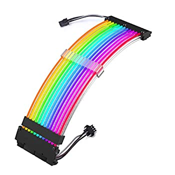 Zezzio RGB Extension Power Supply Sleeved Cable 24 Pin ATX for Cable Management-5v3pin  RGB Cable
