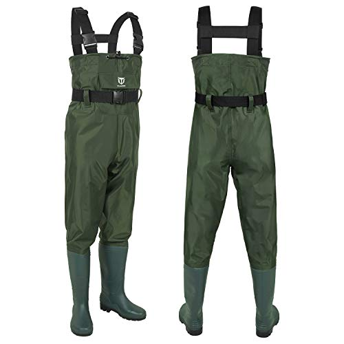 TIDEWE Bootfoot Chest Wader, 2-Ply Nylon/PVC Waterproof Fishing & Hunting Waders with Boot Hanger for Men and Women Green Size 11