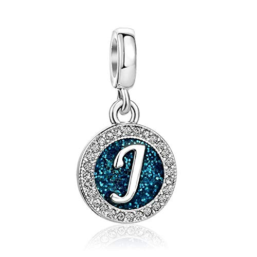 KunBead Initial J Letter Alphabet Crystal Charms Father Daughter Little Girls Beads for Charm Bracelets