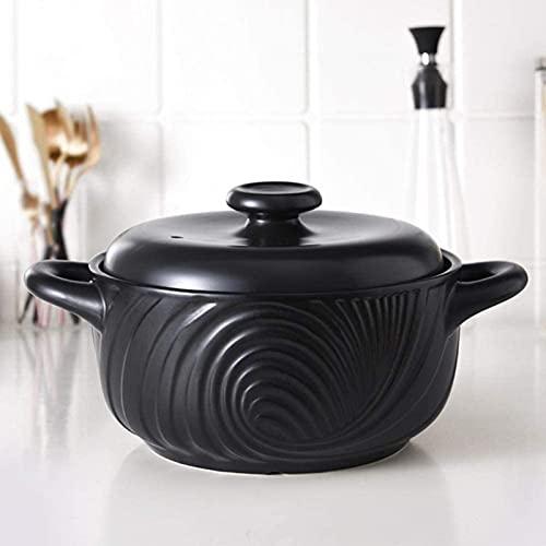 DUDDP Cacerola Pote de Arcilla 2.5L para cocinar Utensilios de Cocina Terracota Terracotta Cocinar ollas-Antideslizante Fácil de Tomar, Energía eficiente, Antideslizante y Estable