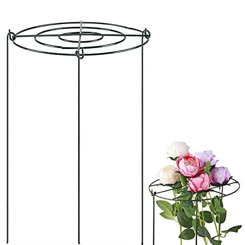 """QJL 18"""" Peony Support and Cages, 3 Pack Grow Through Flower and Plant Supports with 3 Legs"""