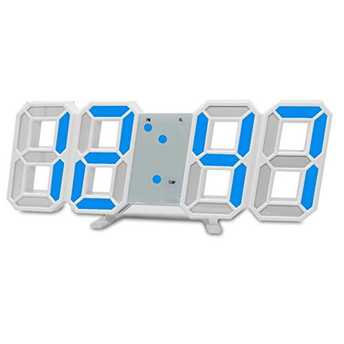 skyllc LED Digital Clock 3D Stereo Electronic Wall Clock Chinese Modern Style Glow in the Dark for Living Room Blue
