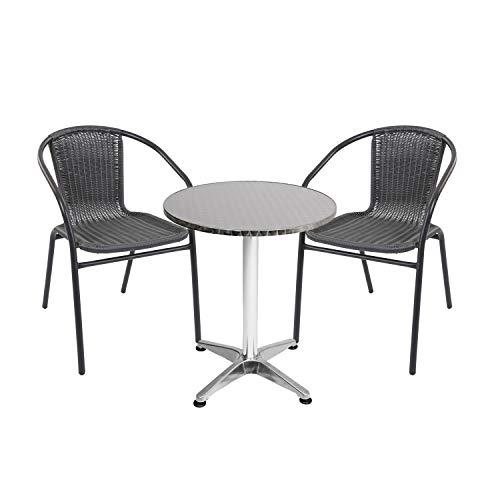 Mojawo - Conjunto de mesa y sillas de jardín (3 piezas, aluminio, 60 x 70 cm, altura regulable de 110 cm, 2 sillas apilables, acero/ratán), color negro