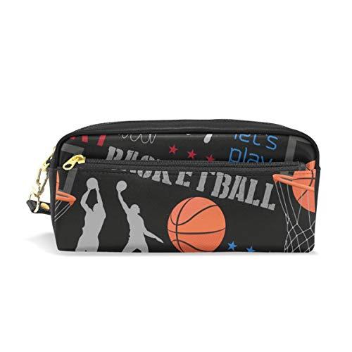 ふでばこ PU 革 スポーツ バスケットボール ペンケース かわいい おしゃれ 大容量 ペンポーチ ラージサイズ 防水 化粧ポーチ 軽量 筆袋 文具収納 ペン箱 収納バッグ プレゼント