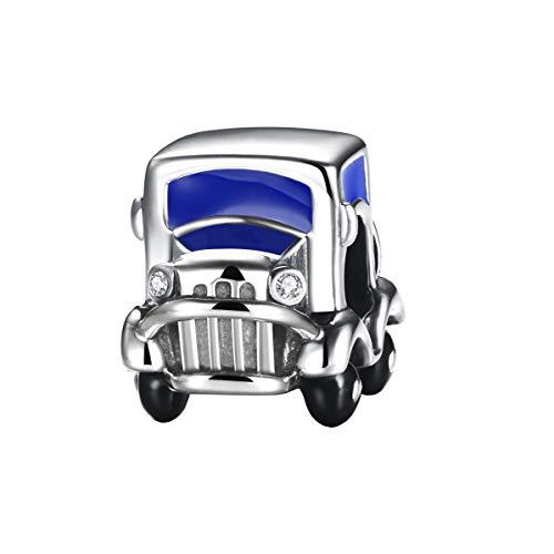 925 Sterling Silber Charms Auto passt für Pandora Armband Armkette für Familie/Freund (Blau)