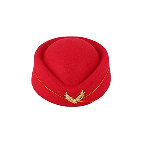 LUOEM Stewardess Hut Flugbegleiterin Kostüm Mütze Wollfilz - Größe M (Rot)