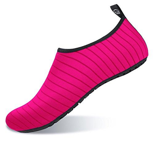 JIASUQI Couples Athletic Water Shoes for Men Beach Swim Exercise Pink US 7.5-8.5 Women, 6.5-7.5 Men