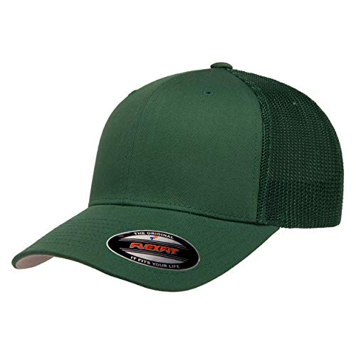 Flexfit Unisex-Adult's Trucker Mesh Fitted Cap, Evergreen, One Size