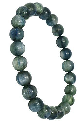 新宿銀の蔵 7.5mm玉 グリーンブルー カイヤナイト ブレスレット 長さ約16.5cm (レディースS サイズ) 天然石 パワーストーン シンプル