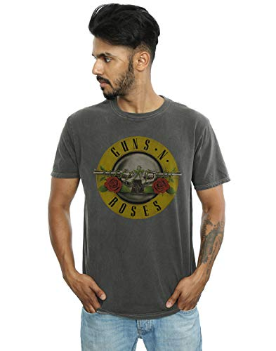 Guns N Roses Hombre Bullet Logo Camiseta Lavada