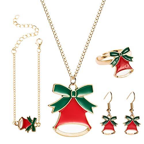 Tianziwen Lujo 4 Navidad arco Bell conjunto de joyería, collar de campana de Papá Noel, pendientes de pulsera, pendientes para la madre de San Valentín