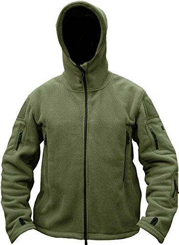 TACVASEN Windproof Men's Military Fleece Combat Jacket Tactical Hoodies, Green, L