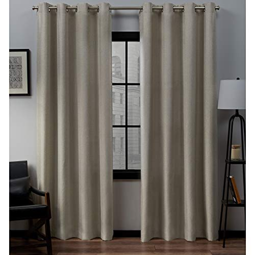 Exclusive Home Curtains Loha Linen Grommet Top Curtain Panel Pair, 54x96, Natural,EH7968-05 2-96G