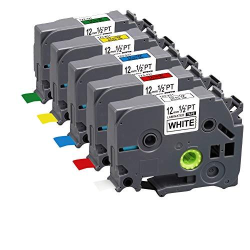 P PUTY Compatible Label Tape Replacement for Brother P-Touch TZe231 TZe431 TZe531 TZe631 TZe731 12mm 0.47 Inch Laminated TZ TZe Tape,Compatible with P-Touch Label Maker PT-D210 PT-D400 PT-D600