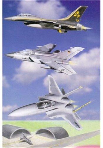 Minikit - 3 Military Jets mit bedruckter Spielfläche, Bausatz