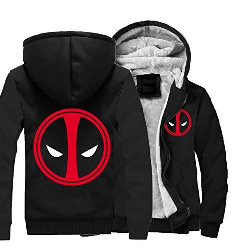 Oowjj Herren Kapuzen Pullover Winter Hoodie Plus Samt Verdicken Jacke Baumwolle Sweatshirt Kleidung Für Cosplay Kostüm Anime Deadpool