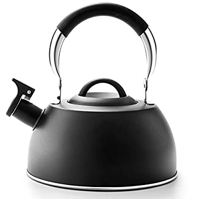 Tea Kettle Best 3 Quart induction Modern Stainless Steel Surgical Whistling Teapot - Pot For Stove Top,Black