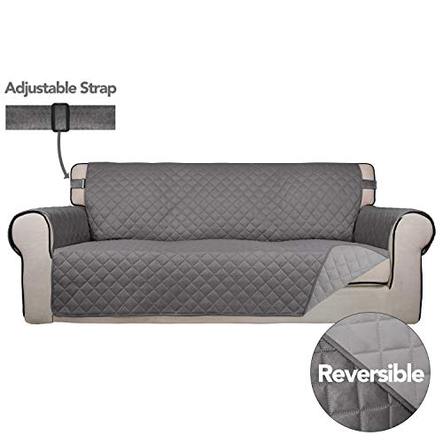 PureFit Reversible Quilted Sofa Cover, Spill, and Water Resistant Slipcover Furniture Protector, Washable Couch Cover with Non-Slip Foam and Adjustable Strap for Kids, Pets (Sofa, Gray/Light Gray)