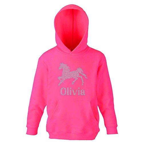 Fuchia 12-13 Girls Slim Fit Girl's Personalised Horse Riding Crystallised Equestrian Hoodie Varsany