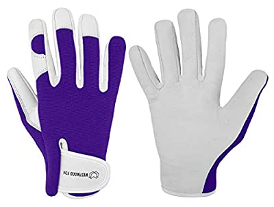 Ladies/Mens Leather Gardening Gloves Thorn Proof Garden work gloves with Goatskin Leather Breathable Spandex Back (Large, Purple)