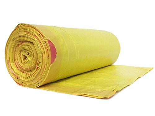 hocz 120 Liter Müllsack | 25 Stück | reißfest | mit Zugband | 25er Rolle | 1 Rolle | Typ 949 | Wandstärke 40 μ | Gelb Abfall-Säcke XXL Abfallbeutel | LDPE | Müllbeutel Müllsacke