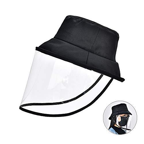 Anti-Speichel-Schutzhut für Fischer, Sicherheits-Anti-Spitting- und Splash-Hut mit vollem Gesichtsschutz, Schutzisolations-Bakterienkappe, Sonnenschutzmaske für den Außenbereich (Schwarz3)