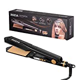 Plancha de pelo ROZIA con 4 niveles de temperatura ajustable, plancha de pelo y rizador con placa calefactora de cerámica PTC flotante e indicador LED, doble voltaje, color morado