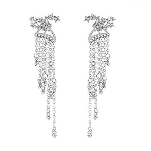 Outfolwer Earring Earrings Star Tassel Back Hanging Exquisite Stud Earrings Girls Simple Hoop Earring