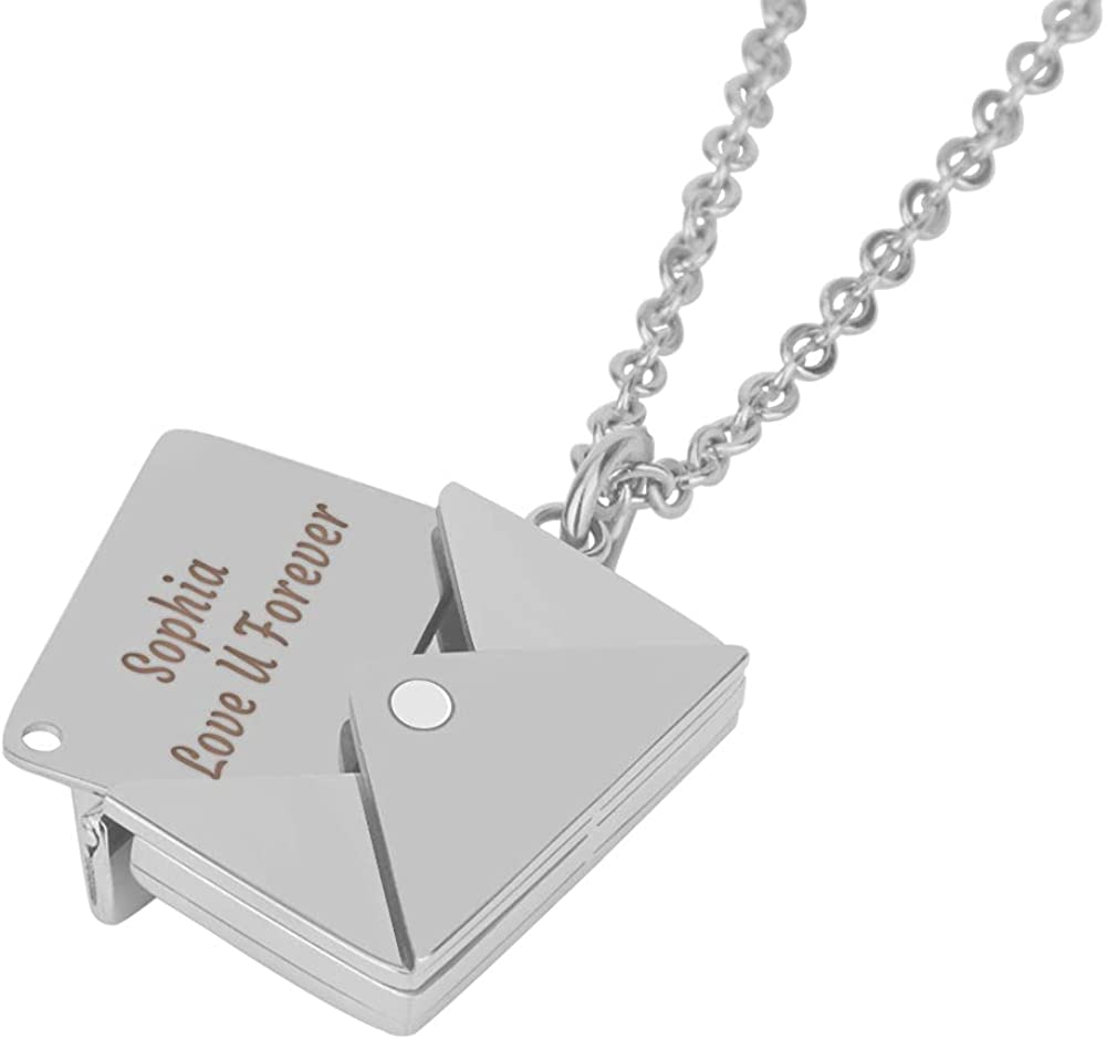 JEWL VSION Custom LOVE Envelope Necklace with Message for Women, Stainless Steel Name Locket Pendant Necklace Personalized Jewelry Gifts for Women