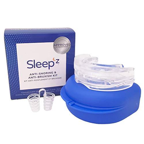 Sleep'Z Anti-Schnarch Set – 3in1 Schnarchstopper & Knirscherschiene + Nasenspreizer gegen Schnarchen und Zähneknirschen (Schlafapnoe & Bruxismus)