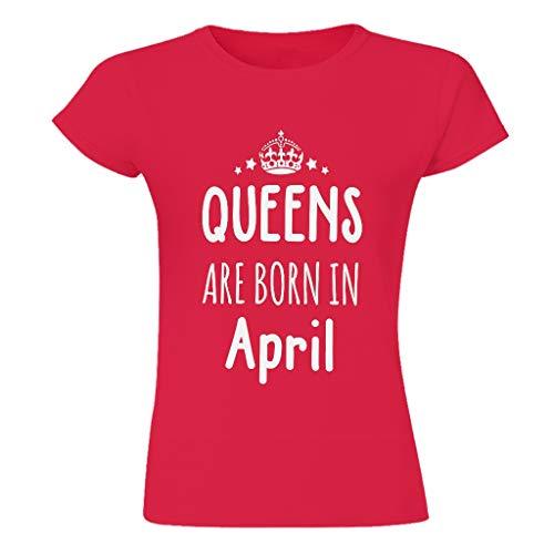 """Camiseta de algodón para mujer, transpirable, cómoda y con texto en inglés """"La Reina nacida en abril"""" Red1 S"""