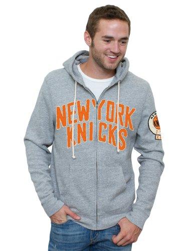 Junk Food NBA New York Knicks Herren Kapuzenpullover Vintage Full Zip Hoodie, Grau, XXL