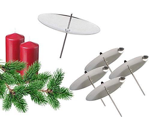 TK Gruppe Timo Klingler 4X Kerzenhalter Silber Kerzenteller Adventskranzstecker Kerzenstecker für Adventskranz Weihnachten Adventskranzhalter mit Dorn (4X Silber)